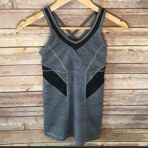 Lululemon fitted tank with mesh detail.